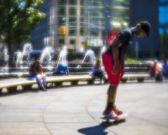 Summer Play (Steven Strasser) Tags: skateboarding skateboard lensbabyvelvet56 lensbaby soft summer sunlight play game fountain softfocus