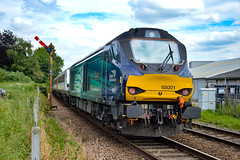 68004 + 68001 - Brundall - 16/06/18. (TRphotography04) Tags: direct rail services drs 68004 rapid 68001 evolution creep past brundall with 2c82 1651 norwich great yarmouth the 68s topntailed greater anglia dvt 82112 8mk3s provided two topntail class 68 sets for airshow