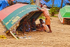 Playing cards (Rajavelu1) Tags: boat beach cards people timepass cycle outdoorphotography art creative dslr availablelight india kerala candidstreetphotography chavakadubeach streetphotography streetscenes streetlife chavakadu