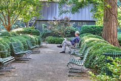 Gramercy Park-3, NYC (albyn.davis) Tags: park nature gramercy nyc newyorkcity people bench trees green color bright vivid light path building city urban relaxing hdr shrubs
