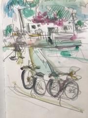 Delta de l'Ebre (GimBo AkimBo) Tags: deltadelebro art painting apunte pintura acuarela drawing sketch print texture deltadelebre bycicle bici bicicleta poblenoudeldelta ebro catalunya