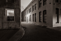 Back Alley (John Getchel Photography) Tags: charleston downtown southcarolina street alley architecture blackandwhite sepiatone streetlight unitedstates us