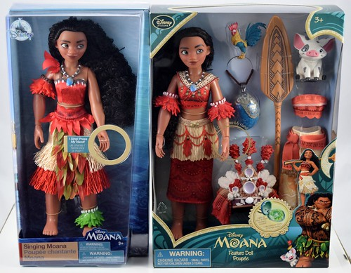2018 vs 2016 singing moana dolls by disney store boxed front