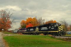 Indiana Northeastern grain train at Steubenville Indiana (Matt Ditton) Tags: indiana northeastern shortline train railroad fall