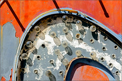 Curve (Ernie Visk) Tags: rust orange blue metal abstract white shadow