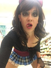 Stefani Slutty (stefani_slutty) Tags: stefani slutty slut prostitute hooker whore pussy kitty cat ears school girl public grocery store knees suck cock blow job black thigh high stockings bra plaid mini skirt red top flash tits boobs titties boobies lips mouth eyes sensual lust