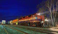 TPW 4056 (GLC 392) Tags: emd gp382 mmrr gp40x tpw toledo peoria western mid michigan railroad railway mqt marquette rail ludington mi blue hour night time tree train yard job 2057 4056