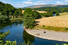Bend in the river (Mister Oy) Tags: riverlune kirkbylonsdale cumbria river bend cows reflection water fujix100f summer curve curved leadinglines