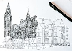 Rochdale Town Hall's coming along nicely, hopefully I'll get it finished this weekend (sketchbookmanchester) Tags: rochdale rochdaletownhall artist art artwork pendrawing inkdrawing drawing urbansketch sketch