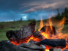 Fire and the evening (Michal Gazovic) Tags: fire burningwood flame wood evening olympuse510 michalgazovic