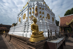 Chinthes and Buddhas (Matt Molloy) Tags: mattmolloy photography watchiangyuen templeoflonglife temple gold buddha statue lions chinthe guards chedi white building elaborate decorations stone sky clouds rooftops religion siphum chiangmai thailand lovelife