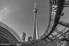 CN Tower from Rogers Centre (johngoucher) Tags: approved cntower rogerscentre stadium architecture city cityscape sky building toronto ontario canada blackandwhite bnw bw monochrome sonyalpha sonyimages wideangle rokinon12mm rokinon torontobluejays bluejays baseball tower