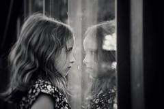 . (AnneStany) Tags: enfant littlegirl kid child children reflection reflet noirblanc blackwhite miroir miror