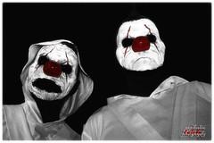 clowns (psychosteve-2) Tags: clown face makeup halloween red nose horror blackwhite hoodie