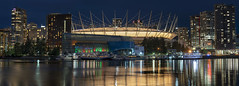 BC Place at Night (Patrick Lundgren) Tags: vancouver british columbia canada pnw pacific northwest metro sont a7 a7rii camera full frame downtown false creek bc place stadium construction building condo water night long exposure cityscape skyline panorama lights reflection city skyscraper sky boat
