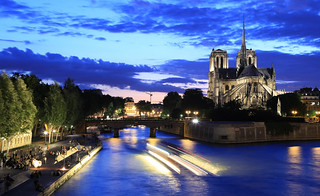 Notre-Dame de Paris and the Seine in the early evening