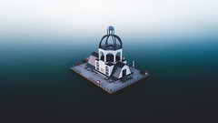 Floating church (Bokehm0n) Tags: landscape nature vsco explore flickr earth travel folk 500px citadel church blue hour bell tower leipzig germany sunrise dji lake reflection outdoors
