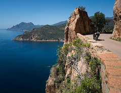 Scenic route in Corsica (Michel Couprie) Tags: europe france corse corsica route road coast côte sea seascape seaside rock rocks moto motorbike bike biker landscape composition drive canon eos couprie blue mer méditerranée