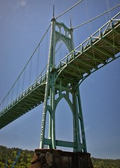 Saint Johns tower 7 14 2018 (rbdal (Rick Dalrymple)) Tags: bridgetower pier saintjohnsbridge stjohnsbridge 1931 cathedralpark citypark park suspensionbridge historicbridge bridge suspensioncabletowers architecture bridgearchitecture cathedrallikedesign cathedralarch architecturalattraction summer portland multnomahcounty oregon d7000 nikon bridgephotography