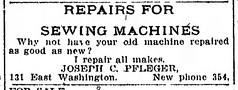 1913 - Joe Pfleger sewing machines - Indianapolis_Star - 28 Jan 1913