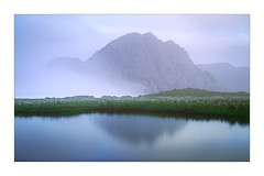 Whisper (Dave Fieldhouse Photography) Tags: tryfan wales snowdonia nationalpark mountain mountains northwales lake llyncasegfraith reflections reflection water grass cottongrass morning dawn cloud mist cloudinversion rock mirror mirrorless fujifilm fuji fujixt2 wwwdavefieldhousephotographycom wilderness outdoors photography landscape landscapephotography wildcamp blue mood calm longexposure