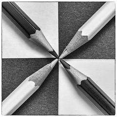 4 quarters (Joseph Pearson Images) Tags: macromonday linesymmetry blackandwhite mono bw pencil square macro