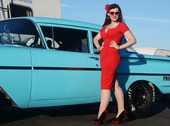 Holly_9210 (Fast an' Bulbous) Tags: classic american car chevy oldtimer vehicle automobile people outdoor pinup model girl woman wife hot sexy chick babe red wiggle dress high heels stockings