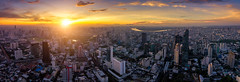 Aerial view of Bangkok skyline panorama and skyscraper with light trails on Silom road center of business in capital. Modern city and BTS skytrain with Chao Phraya river at Bangkok Thailand on sunrise (MongkolChuewong) Tags: aec aerial aerialview architecture asia bangkok bts building business capital center chaophrayariver city cityscape day district downtown high iot jam landmark lighttrail lumpini metropolis modern night panorama park sathorn silom sky skytrain skyline skyscraper smart station sunrise sunset symmetric symmetry thailand top tower traffic train transport transportation travel view krungthepmahanakhon th