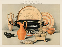 Ceramic Art: Ancient Greek, Cyprian and Etruscan (1891), a collection of everyday ceramic tools used in the ancient times. Digitally enhanced from our own original plate. (Free Public Domain Illustrations by rawpixel) Tags: tags amphora ancient ancientgreek antique art artistic beautiful brown candle candleholder cc0 ceramic ceramicart chromolithograph classic classical clay container craft crock crockery cultural culture cup cyprian decor decoration decorative design etruscan grecian greek hellenic historical history holder incense jug lithograph pitcher plate porcelain pot pottery publicdomain terracotta vase vintage wall