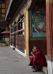 Paro: Rinpung Dzong, Monks (victoriaei) Tags: bhutan asia paro rinpungdzong 2016 october autumn nikon d5300 buddhism buddhist dharma monks courtyard
