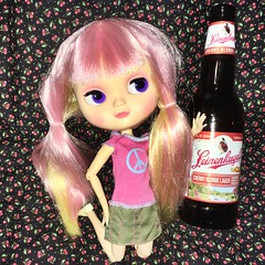 """Cherry says """"Hey, did they name this beer after me?"""" 🍒👧🍻 (Jeanne1931) Tags: pinkandyellow pinkhair cutedoll doll cherryblonde cherrylemon cherry icy"""