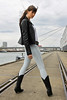 Natalie 81 (The Booted Cat) Tags: sexy teen girl model tight jeans denim leather jacket boots cowboyboots
