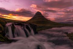 Kirkjufell-Kirkjufellfoss (crossover-sunset view) (Howard L.) Tags: ilce7rm2 iceland kirkjufellmountain kirkjufellsfoss snæfellsnesvegur sonya7rii waterfalls westiceland sunset waterfall zeiss zeissbatis2818