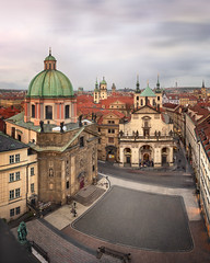 Panorama of Saint Francis Of Assissi Church and Church of Saint Salvator in the Evening, Prague, Czech Republic (ansharphoto) Tags: architecture assisi baroque bohemia building capital cathedral center church city cityscape culture cupola czech czechrepublic dome europe european evening facade famous francis francisc historic historical history iconic karlova landmark medieval monument old panorama prague praha religion republic saint salvador salvator sky skyline square statue street tourism tower town travel urban
