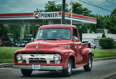 Red Truck (HTT) (13skies) Tags: thursday pickuptruck truckthursday gasstation roadtrip road driving red grill cool classic antique truck sonya57 v8 happytruckthursday headlights sign parison