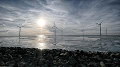freezing (ahwou) Tags: ijsselmeer holland mills windmills molen urk koud ijs schaatsen winter landschap water meren noordoostpolder windmolenpark