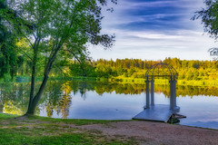 Giaginsky pond (Dmitry Karyshev) Tags: nature lake water tree outdoors landscape reflection forest scenics summer pond autumn sky tranquilscene blue river ruralscene greencolor beautyinnature nopeople everypixel giaginsky karyshev 5dmiv canon2470mmf28liiusm