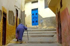 Les escaliers de la butte sont durs aux miséreux (Olivier Simard Photographie) Tags: moulayidrisszerhoun maroc maghreb afrique idrissier premièrecapitaledumaroc villeimpériale campagne sultan colline ville volubilis riad massifduzerhoun moulayidriss morocco africa idrissi firstcapitalofmorocco imperialcity hill city massifofzerhoun rif islam musulman muslim massifdurif médina medina escalier stairs rifmountain sebbanine afriquedunord berbère berber alley ruelle architecture burnous traditionalclothing vêtementtraditionnel homme vieilhomme vieillard canne man oldman cane people construction traditions