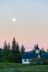 Pink 4 (Simone Della Fornace) Tags: church moon full night trees nationalpark goldencircle iceland thingvellir outdoor pastel sony a7rii