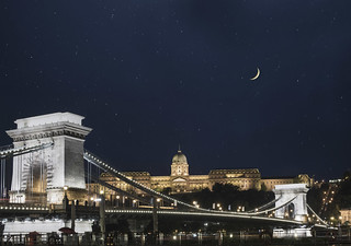 Budapest, Hungary under a night sky with views of Chain Bridge and Buda Castle