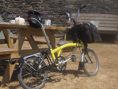 Brompton at Tea Stop (cycle.nut66) Tags: lellizzick farm cream tea sunshine sunny touring train brompton folder folding bike bicycle ride riding cycling tour cornwall camel trail olympus epl1 evolt micro four thirds mzuiko