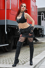 Olga 71 (The Booted Cat) Tags: sexy girl red hair leather miniskirt fishnets fishnet mistress overkneeboots boots