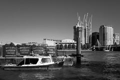 Le Petit Bateau (cybertect) Tags: carlzeissdistagont35mmf28mm london londonwc2 riverthames royalfestivalhall shellcentre sonya7ii wc2 boat construction monochrome river water