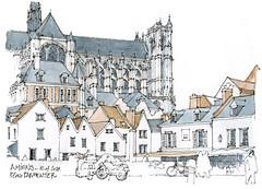Amiens (gerard michel) Tags: france picardie somme cathédrale sketch croquis place architecture église gothique