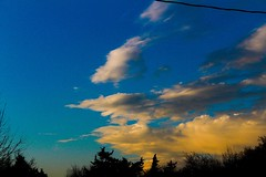 Sunsets over Oklahoma (katyearley) Tags: sunset oklahoma orange blue clouds black trees contrast canon rebel t6 55mm