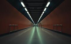 11907 (Panda1339) Tags: 28mm leicaq hk summiluxq 香港 tunnel hongkong architecture underground symmetry station metro subway trains walkway lit light