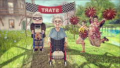 *Rolling Walker Race...Let's all cheer!* ❤️ (Ⓐⓝⓖⓔⓛ (Angeleyes Roxley)) Tags: piggu secret store granddad granny june jonathan cheer race rolling walker sl secondlife avatar outdoor luanes world meli imako