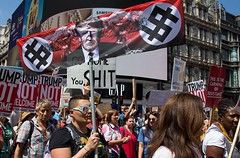 Trump protest, London 13 July 2018 (chrisjohnbeckett) Tags: trump protest demonstration march rally piccadillycircus london londonist timeout street urban politics photojournalism global people canonef24105mmf4lisusm chrisbeckett red