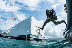 Sailor enters the water for a dive on the USS Arizona Memorial at Joint Base Pearl Harbor-Hickam (Official U.S. Navy Imagery) Tags: rimpac rimofthepacific usnavy maritime strategy hawaii pearlharbor hickam jointbasepearlharborhickam strengtheningpartnerships largestmaritimeexercise unitedstates cooperativerelationships foster sustain sailors rimpac2018 seabees underwaterconstructionteam2 uct2 us