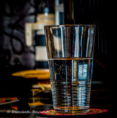 Day 198. (lizzieisdizzy) Tags: table tabletop glass drinking drink pintglass water dof thirst transparent breakable fragile liquid vessel reflections reflection